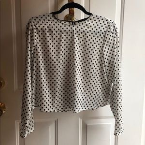 Zara silk black polkadot top